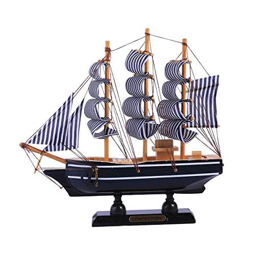 Vosarea Velero de Madera de Estilo mediterráneo decoración del hogar Hecho a Mano Tallado náutico Barco Modelo Regalo