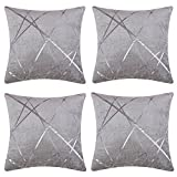 JOSCA 4 Pcs Luxury Soft Shell Geometric Jacquard Square Throw Pillow Cushion Covers for Sofa(20' x 20',50x50cm) Grey