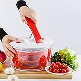 Große Salatschleuder Salads Spinner - Salattrockner, Schnell Trocken Aktion, Rutschfeste Basis, Geschirrspüler Safe Schüssel Mit Sieb & Push Handle Lever
