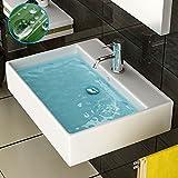 Weiss Keramikbecken mit Lotus Effekt - Eckig Waschtisch - Handwaschbecken mit Nano Effekt - Badmöbel