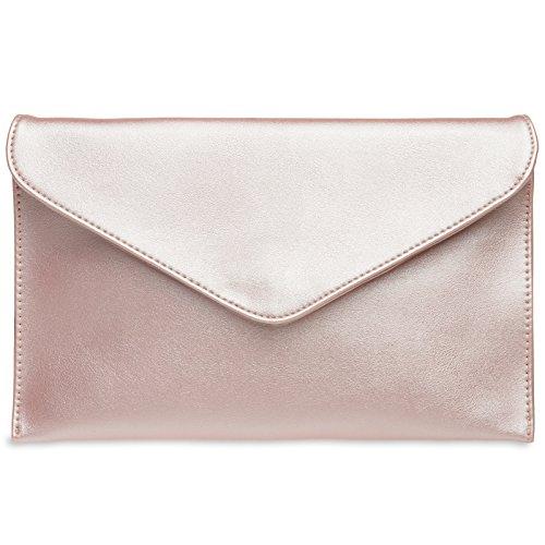 CASPAR TA310 Damen Envelope Clutch , Farbe:rosa metallic (Clutch)
