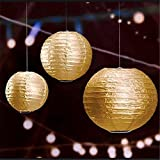 Satyam Kraft Decoration Paper Balls Lantern (12 Inch, Pack Of 5, Gold)