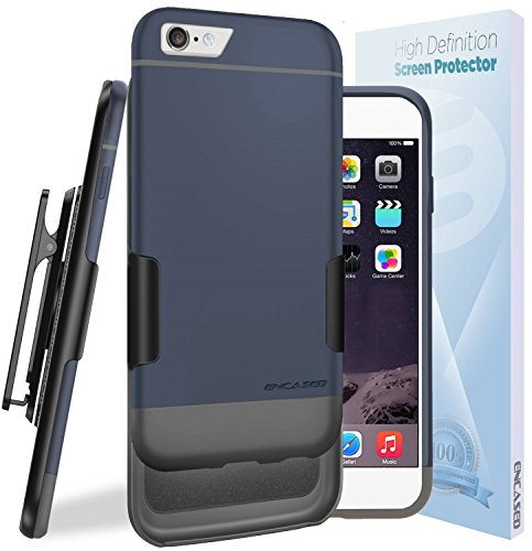 iPhone 6S Ultra Slim [CASE & CLIP Combo] Soft-touch Slider Shell + Belt Clip Holster (Includes HD Screen Guard) Encased® Lifetime Warranty (Gray/Black) Blue/Gray