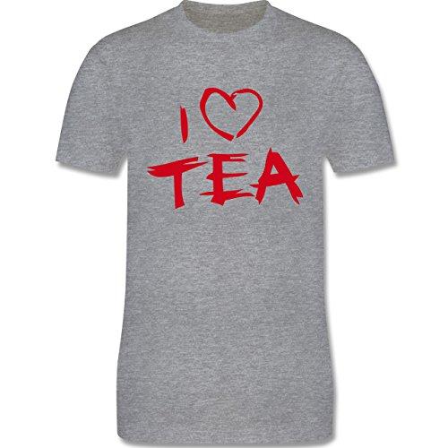 Küche - I Love Tea - Herren Premium T-Shirt Grau Meliert