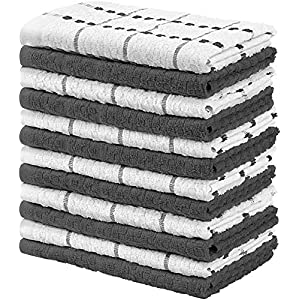 Utopia Towels - 12er Pack Geschirrtücher Küchentücher, 38 x 64 cm Baumwolle Geschirrtüch - Maschinenwaschbar (Grau und Weiß)