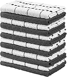 Utopia Towels Kitchen Towels (12 Pack, 38 x 64 cm, Grey and White) Cotton - Machine Washable - Dobby Weave Dish Towels, Tea Towels, Bar Towels