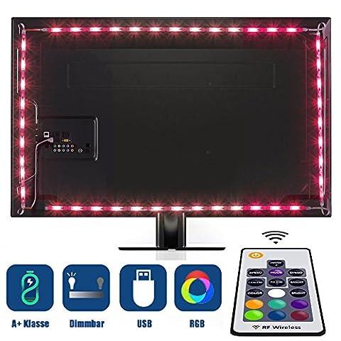 Tobbiheim LED TV Hintergrundbeleuchtung, 2 Meter Lang 5050 RGB LED Streifen 4 x 50cm USB Betrieben Fernseher LED Leiste Innenbeleuchtung Stimmungslichter Lauflichter Lichtschlauch mit RF Wireless Fernbedienung für 40 bis 60 Zoll HTDV Fernseher, Monitor und andere Bildschirme