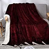Oikupe Sherpa Fleece Blanket Twin Size Plush Throw Blanket Fuzzy Soft Blanket Microfiber Geeignet Winter für Schlafcouch Wohnzimmer (Rotwein),200x230cm