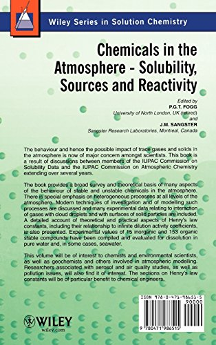 Chemicals in the Atmosphere: Solubility, Sources and Reactivity (Wiley Series in Solutions Chemistry)
