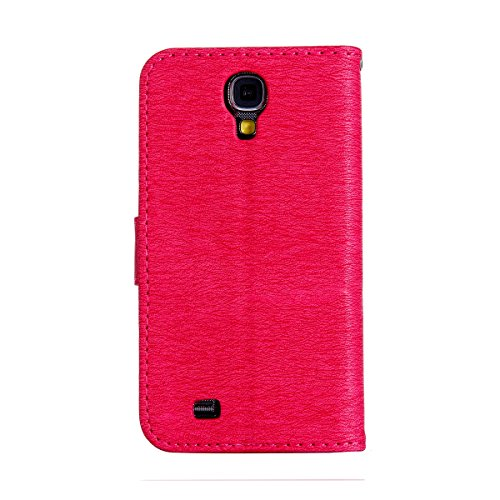 Felfy Coque Etui pour Samsung Galaxy S4,Galaxy S4 Coque Dragonne Portefeuille PU Cuir Etui,Galaxy S4 Etui Cuir Folio Housse Rose Or Tournesol 3D en Relief Motif Leather Case Wallet Flip Protective Cov Chat Hot Rose