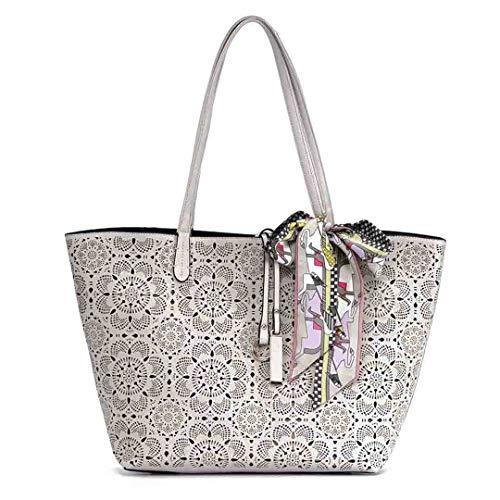 Mode Eimer Taschen für Frauen aushöhlen Blumendruck Casual Shopping Strandtasche Schal Handtasche Grey -