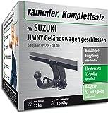 Rameder Komplettsatz, Anhängerkupplung abnehmbar + 13pol Elektrik für Suzuki JIMNY Geländewagen geschlossen (117393-03972-2)