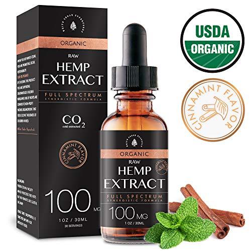Estratto biologico di canapa per sollievo da dolore e stress (100MG), Aroma Cinnamint, unito a olio di semi di canapa biologico per un'assimilazione ottimale, CO2 Estratto a freddo, 1oz