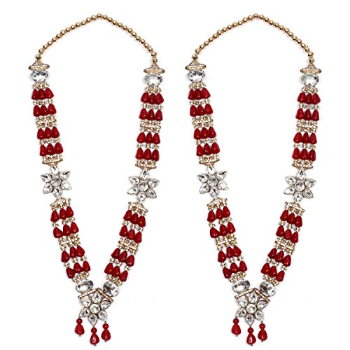 Anks Handicrafted Multi-Color Pearls & Stones Metal Varmala Jaimala for Unisex (Set of 2) VM-007
