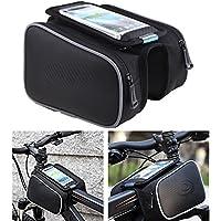 """Nestling® ROSWHEEL bicicletta anteriore superiore tubo Telaio Pannier Borsa doppia Pouch 1.8L 5.0/5.5pollici per iPhone 6/5s/5C/5, Samsung dispositivo e custodia per, Black, 5.0"""""""