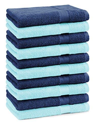 BETZ lot de 10 serviettes débarbouillettes taille 30x30 cm 100% coton Premium couleur bleu foncé et turquoise