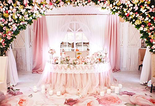 EdCott Graceful Indoor Pink Floral Hochzeit Gruß Ankunft Tisch Hintergrund 10x8ft Vinyl Elegent Arch Rose Blume Tür Pink Floral Teppich Hintergrund Hochzeit Video Shoot Brautdusche Braut Porträt - Schwarz Floral-teppich
