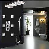 Placcatura retro rubinetto 4-functions set doccia rubinetto Big getti idromassaggio pioggia e cascata soffione doccetta + + + valvola termostatica, trasparente