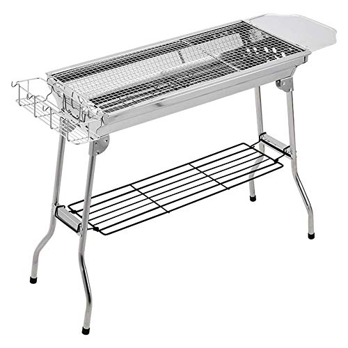 Chrom Gas-pfanne (Lcxligang Klappgrill, Outdoor Barbecue Grill Edelstahl Holzkohle Garten Camping Grill)