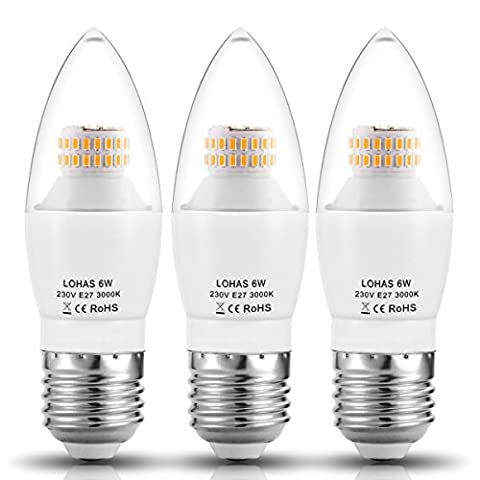LOHAS® C37 6Watt E27 LED Candle Bulbs, 60Watt Incandescent Bulb