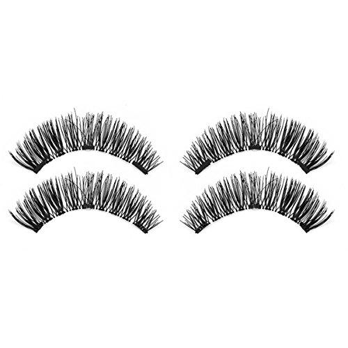 TOOGOO 1 paire / 4pcs Faux cils magnetiques longs a trois aimants 3D naturels Maquillage doux pour les yeux Extension de cils Outils de maquillage KS05-3