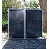 2–Cubo de basura Cajas Modelo No. 3antracita gris para cubos de basura 240Litros/Resistente a la intemperie con revestimiento de polvo/con Tapa y puerta delantera