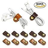 Auricolare avvolgitore cavo fascette Apple Lightning, cinghie in pelle corda, cavo USB, organizer con auricolare, avvolgitore con pelle fatta a mano (10 in una confezione)