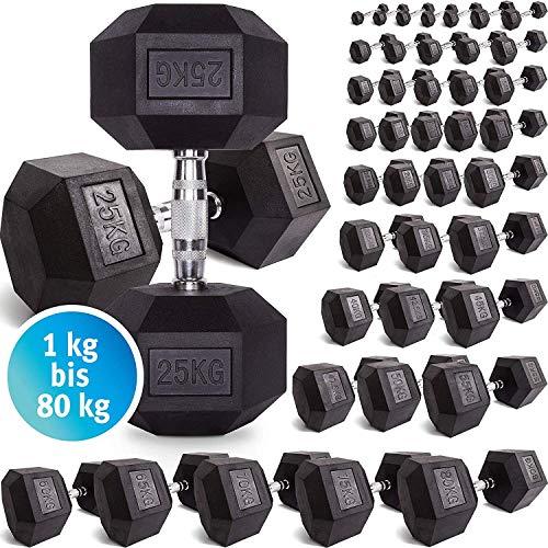 C.P. Sports Hexagon Kurzhantel Gummi 1-60 kg - mit Beschichtung und ergonomischen Chrom-Griff, Kurzhantel, Kurzhantel-Set, Dumbbel, rutschsicher (6kg-Paar)
