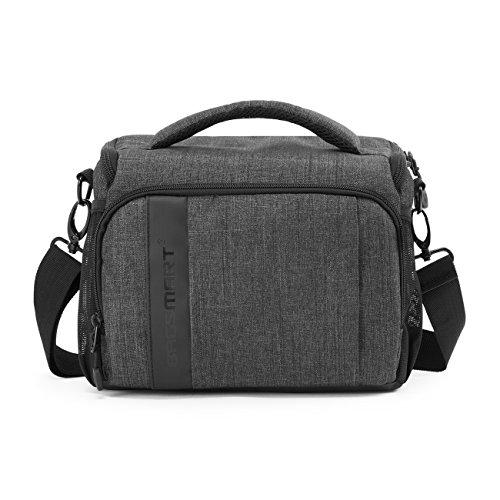 BAGSMART Kameratasche Spiegelreflex DSLR SLR Fototasche für Spiegelreflexkamera Systemkamera Objektive Zubehör mit Regenschutzhülle Grau