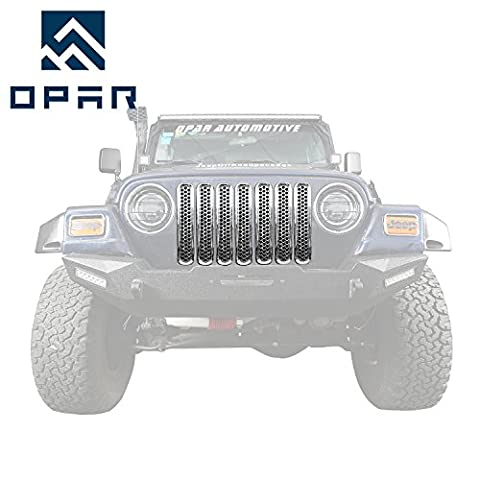 Opar Chrome Front Grill Mesh Inserts for 1997 - 2006 Jeep Wrangler TJ & Unlimited (Pack of 7)