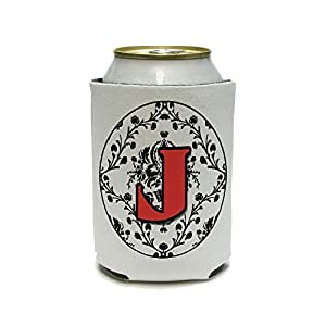 Graphics and More Lettera J initial Damask elegant Red Black–Birthday Shower wedding can Cooler–isolante–bevanda bevanda isolato Holder
