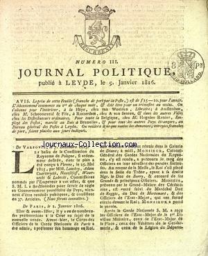 JOURNAL POLITIQUE [No 3] du 09/01/1816