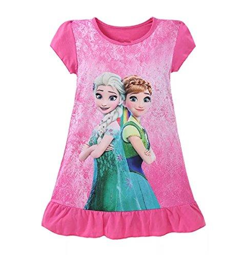 Nachthemd, Schlafanzug, Pyjama für Mädchen mit Disney Prinzessinnen-Motiv aus 90% Baumwolle Gr. 3-4 Jahre (Small), Frozen (Für Disney Mädchen Prinzessin)