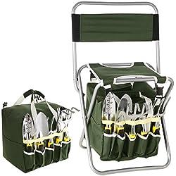 Gartenwerkzeug Hocker – Klapphocker inklusive 5-teiligem und ein Paar Handschuhe Edelstahl Werkzeug Set – Gratis Tragetasche zur Aufbewahrung der Gartengeräte - rostfrei und sehr robust – perfekte Geschenkidee für Hobby und Profigärtner