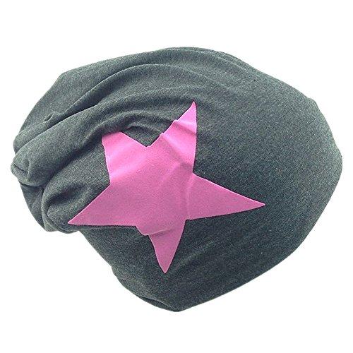 PinkStern Jersey Slouch Beanie Long Mütze mit Pink Stern Style Unisex Unifarbe Herren Damen Trend Anthrazit (Pink Jersey Fashion)