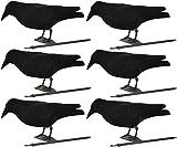 Nitehawk - Lot de 6 corbeaux entiers avec pattes sur bâton - appelant pour la chasse/le tir - floqué