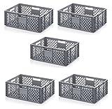 5x Bäckerkiste Cateringbox 60 x 40 x 22 durchbrochen inkl. gratis Zollstock 5er Set