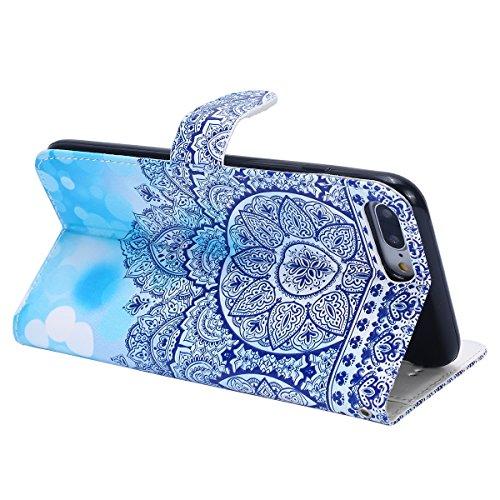 Custodia iPhone 7 Plus/iPhone 8 Plus (5.5), EUWLY Flip Cover Leather Wallet Case Custodia per iPhone 7 Plus/iPhone 8 Plus (5.5) in PU Pelle, Bling Bling Custodia Cover con Ultra Sottile Interno Sili Mandala Floreale Blu