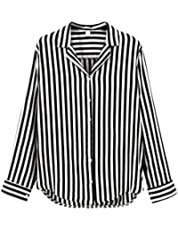 ShiFan Camisa De Rayas Mujer Anchas Casual Top Mangas Largas