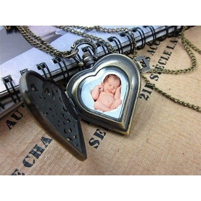 Vintage Photo Locket Bronze Pendant Filigree Memory Necklace - Wrapped & Gift Boxed