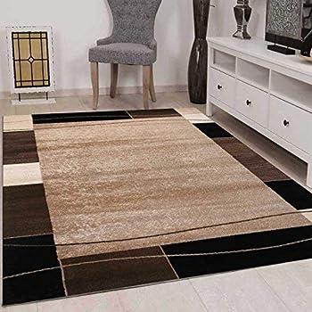VIMODA Teppich Wohnzimmer Kurzflor Modern Meliert Kariert Marmor Muster  Braun Beige, 80x150 Cm Singapur6704_beige_8 1