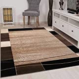 VIMODA Teppich Kariert Retro Muster Meliert in Braun Schlafzimmer Wohnzimmer - ÖKO Tex Zertifiziert, Maße:200x290 cm