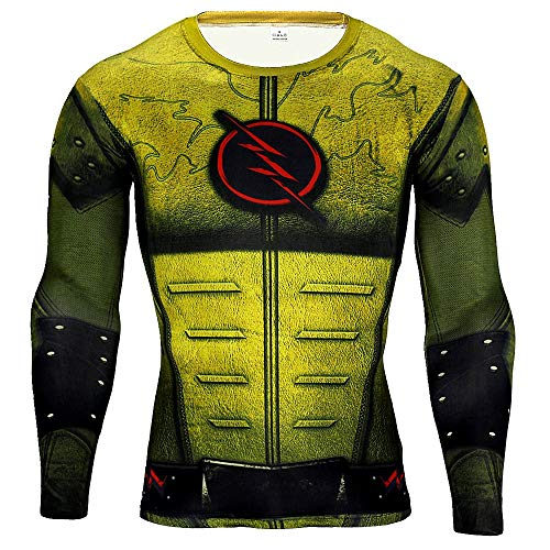 HOOLAZA Reverse-Flash T Shirt Eobard Thawne Daniel West Zoom Herren Fitness Shirt Yellow Joggen Motion Long Sleeve Super Heroes Langarmshirt Herren Kompressions L