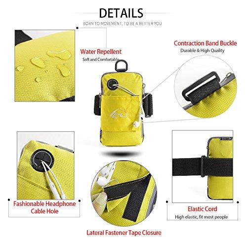Docooler 5.5 Zoll Sport Mobil Arm Tasche/Handgelenk Tasche, Dauerhaft/Multifunktion Brieftasche Armbinde Gelb