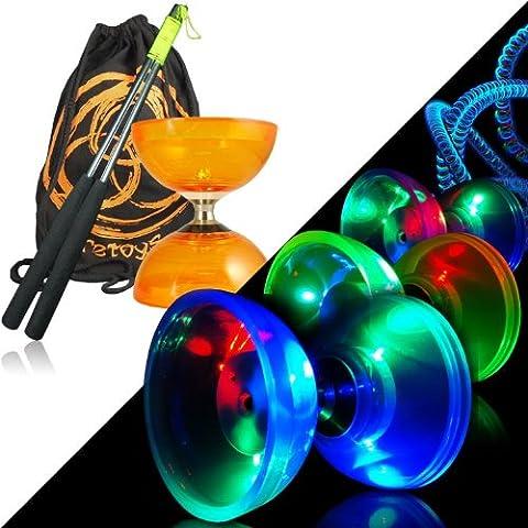 Orange Cyclone Quartz 2 Glow Diabolo Set w/ Metal Diablo Sticks, LED Kit & Firetoys® Bag