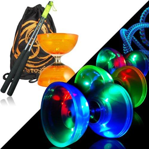 Juggle Dream Cyclone Quartz 2 (Orange) Glow Diabolo Set w / Sticks métal Diablo , Kit LED & Sac FT