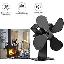 Ventilador silencioso para estufas con ventilador de calefacción, 4 aspas ajustables para quemador de leña