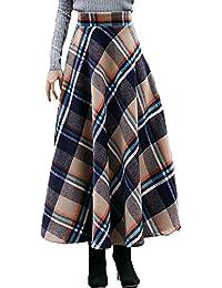 JIAMIJ Girl Lady Vintage Celosía De Lana Falda Larga Mujeres Elegante Falda  De Cintura Elástica Casual 1455e874ee22