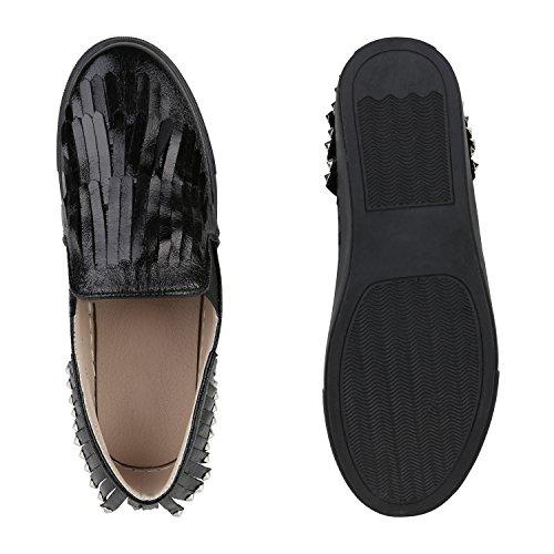Damen Sneakers Slip-ons Lack Glitzer Metallic Slipper Schuhe Schwarz Nieten Fransen