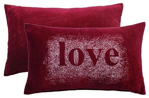 gefüllt bestickt Spirale Love rot weiß Samt Boudoir Kissen 28x 48cm